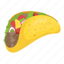 food, finger food, wheat tortilla, rolled taco, taco icon