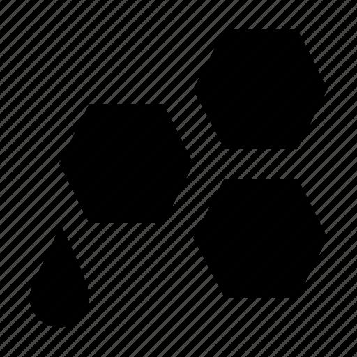 beeswax, hexagonal structure, honey, honey dripping, honey wax icon