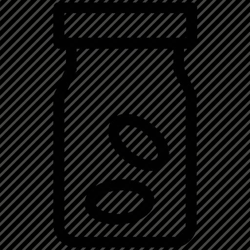 jar, jar of beans, jar of coffee beans, seeds in jar icon