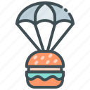 burger, food delivery, home delivery, online food, parachute icon