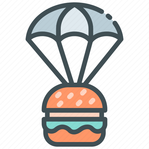 Burger, food delivery, home delivery, online food, parachute icon - Download on Iconfinder