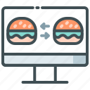 application, burger, compare food, delivery, food app, food price icon