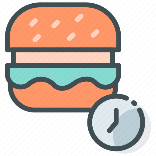 burger, date, food delivery, on time delivery, order food icon