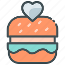 application, burger, favorite food, food app, heart, wishlist icon