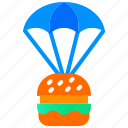 burger, food delivery, home delivery, online food, parachute
