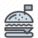 burger, fastfood, flag, food, hamburger, meal icon