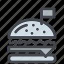 burger, fastfood, flag, food, hamburger, meal