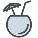 cocktail, coconut, drink, straw, umbrella icon