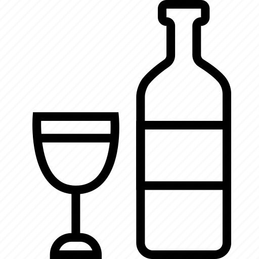 beverages, bottle, food, glass, groceries, wine icon