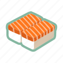 japanese food, maki, raw, salmon fish, sushi icon