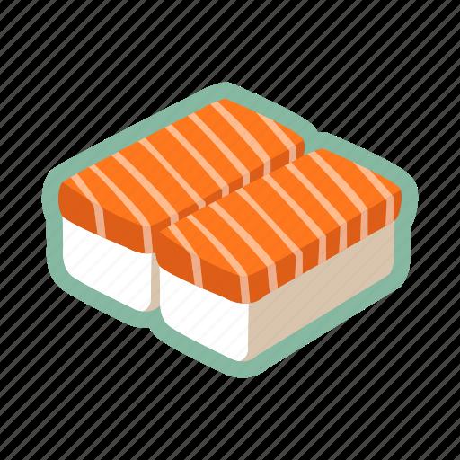 japanese food, maki, raw, salmon fish, sushi icon
