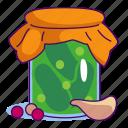 cucumber, food, garlic, jar, meal, pickle, vegetable icon