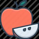 apple, food, fruit, healthy, leaf, piece