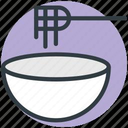 bowl, fork, noodles, spaghetti, vermicelli icon