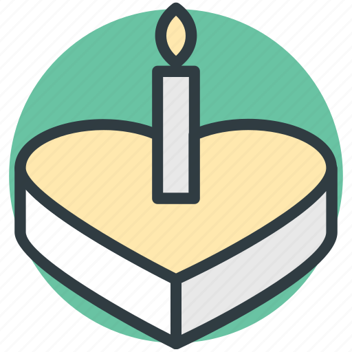 cake, cake with candle, food, heart cake, valentine cake icon
