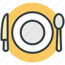 dining, knife, plate, restaurant, spoon icon