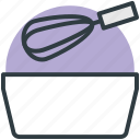 bowl, cake mixer, cooking, hand mixer, whisk icon