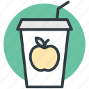 apple juice, disposable glass, fruit juice, healthy juice, straw icon