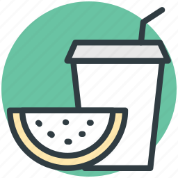 disposable glass, fruit juice, healthy juice, orange juice, straw cup icon