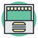 burger kiosk, burger stall, food stall, market stand, street stall icon