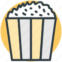 maize corn, popcorn, popcorn box, popping corn, snack pack icon
