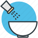 adding salt, cooking, food bowl, saltshaker, seasoning icon