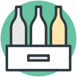 beer crate, beverage crate, bottles, bottles crate, wine bottles icon