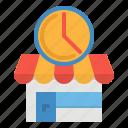 close, open, restaurant, shop, time icon