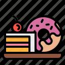 bakery, cake, dessert, slice, sweet