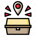 pin, box, food, location, place