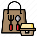 spoon, fork, lunch, bag, box