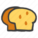 bake, bakery, bread, gluten, loaf, wheat icon