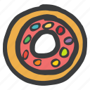chocolate, desserrt, donut, sugar, sweet, truffle icon