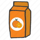 drink, fruit, juice, orange, packaged, pulp, tetrapack icon