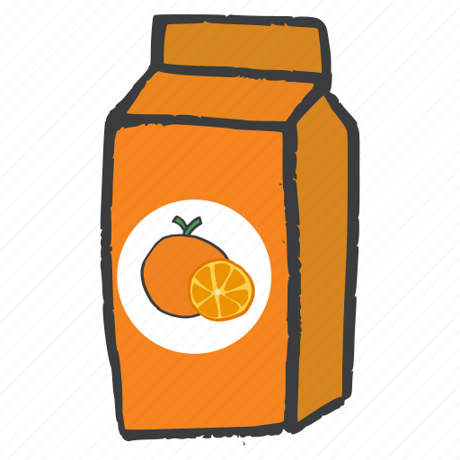 drink, fruit, juice, orange, packaged, pulp, tetrapack icon