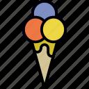 cone, cream, ice, scoop
