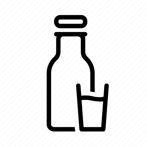 bottle, bottle of milk, drink, glass, milk icon