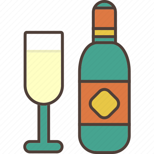 alcohol, bottle, celebration, champange, drink, toast icon
