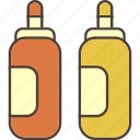 bottles, food, ketchup, mustard, pizza, sauce icon