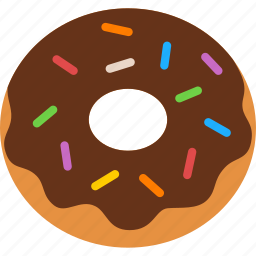 chocolate, confection, dessert, donut, doughnut, frosting, sprinkles icon