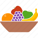 apple, bowl, container, fruit, fruits, grapes, orange icon