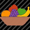 apple, bowl, container, fruit, fruits, grapes, orange