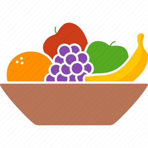 apple, bowl, container, fruit, fruits, grapes, orange icon