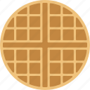 belgian, breakfast, food, round, wafer, waffle icon