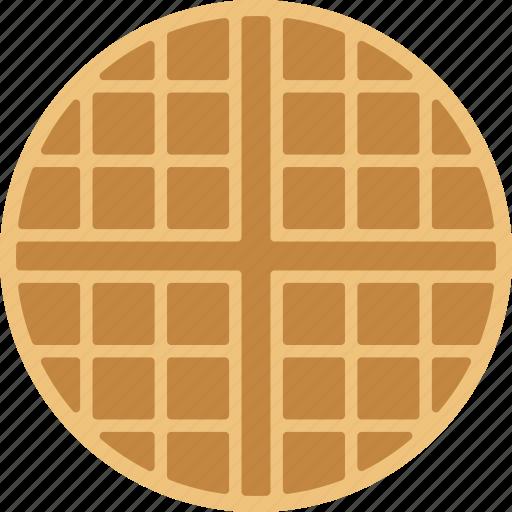 belgian, breakfast, food, round, wafer, waffle icon