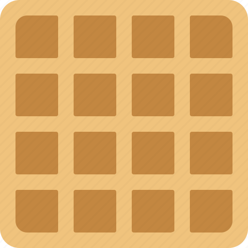 belgian, breakfast, food, square, wafer, waffle icon