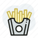 chips, fried potatoes, junk food, potatoes icon