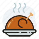 baked, barbecue, chicken, roasted icon