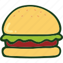 bread, burger, food, junk food icon