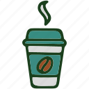 beverage, coffee, food, glass, hot icon